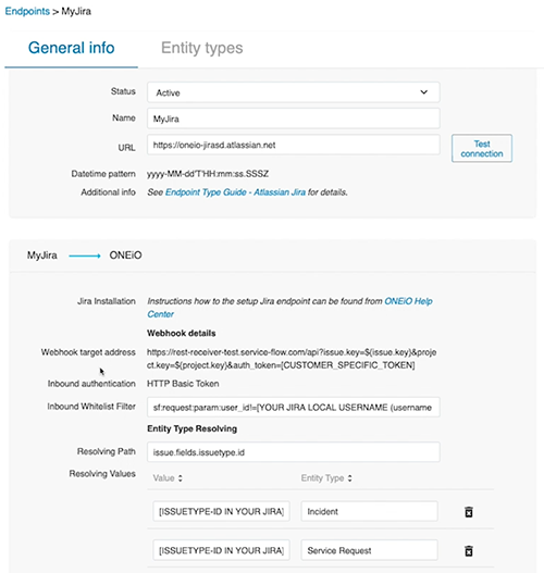 Adding the JIRA Endpoint in ONEiO
