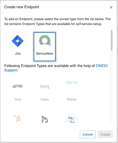 Adding ServiceNow Endpoint
