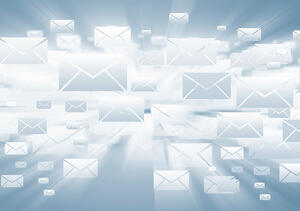 Background with media email icons on blue-1