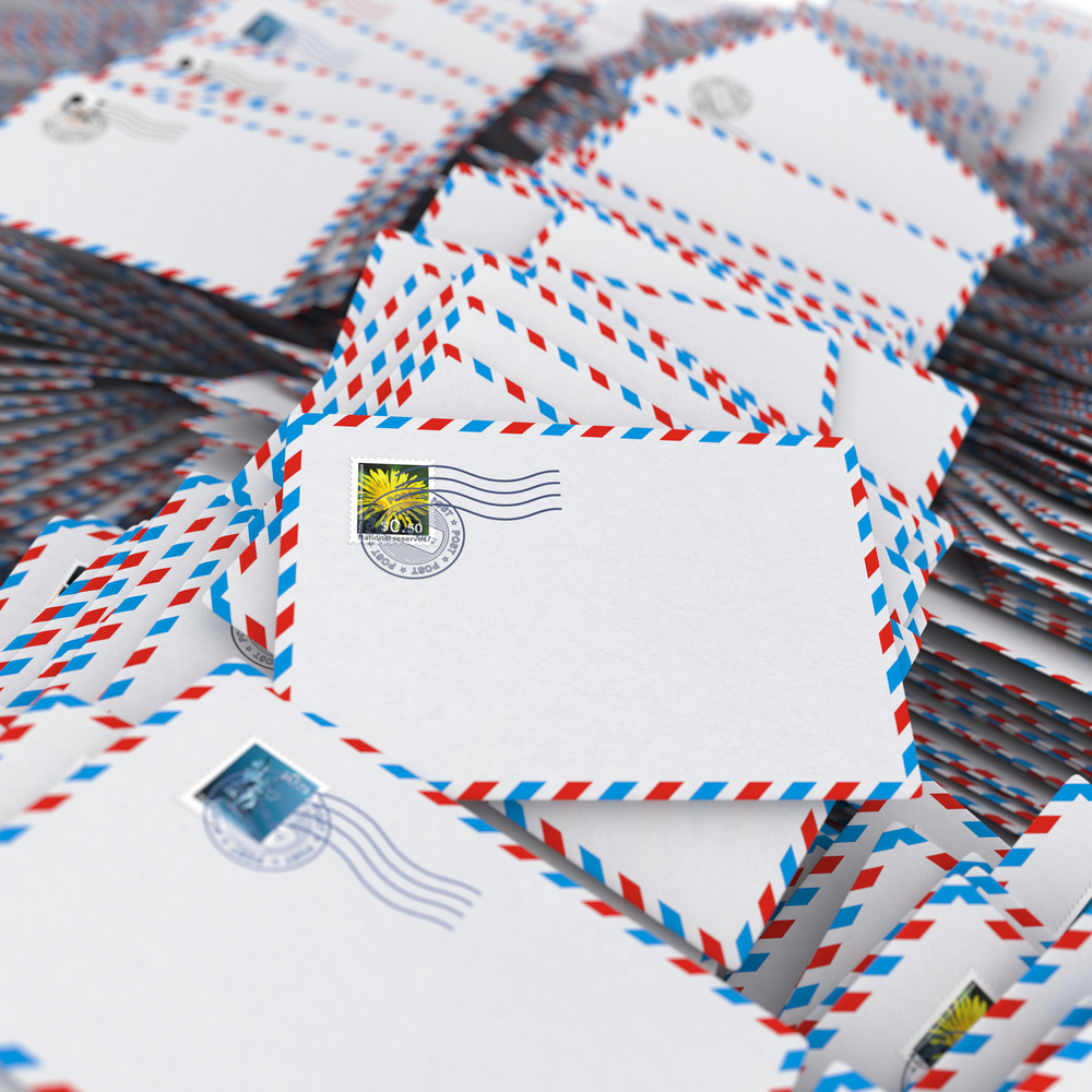 Pile of Envelopes, Letters. Image with Selective Focus.