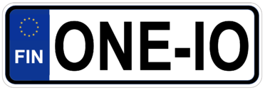 ONEiO licence plate